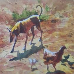 nature has its own beauty, 11 x 15 inch, rasheed p u,animal paintings,paintings for living room,handmade paper,watercolor,11x15inch,GAL027917125