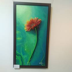 daisy flower, 14 x 28 inch, shaeesta  mirza,paintings,flower paintings,paintings for living room,canvas,acrylic color,14x28inch,GAL028357127