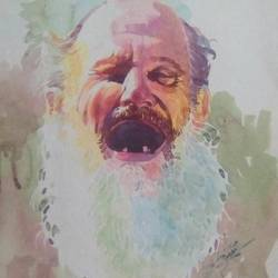 a old man, 15 x 22 inch, rasheed p u,figurative paintings,paintings for dining room,handmade paper,watercolor,15x22inch,GAL027917128