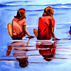 boys in playing beach, 30 x 20 inch, mahesh bommanalli,figurative paintings,paintings for living room,canvas,acrylic color,30x20inch,GAL0364713