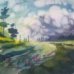 a wonderful path, 15 x 22 inch, rasheed p u,landscape paintings,paintings for bedroom,handmade paper,watercolor,15x22inch,GAL027917130