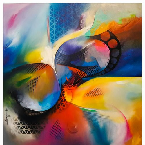 atraction of colours 1, 36 x 36 inch, sanjay  tandekar ,paintings for office,abstract paintings,canvas,acrylic color,36x36inch,GAL028107132