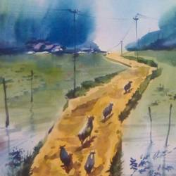a village, 14 x 22 inch, rasheed p u,landscape paintings,paintings for dining room,drawing paper,watercolor,14x22inch,GAL027917134
