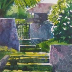 a peaceful surrounding, 14 x 22 inch, rasheed p u,landscape paintings,paintings for living room,drawing paper,watercolor,14x22inch,GAL027917135