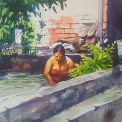 a lady in pond, 11 x 15 inch, rasheed p u,paintings for bedroom,realism paintings,handmade paper,watercolor,11x15inch,GAL027917136