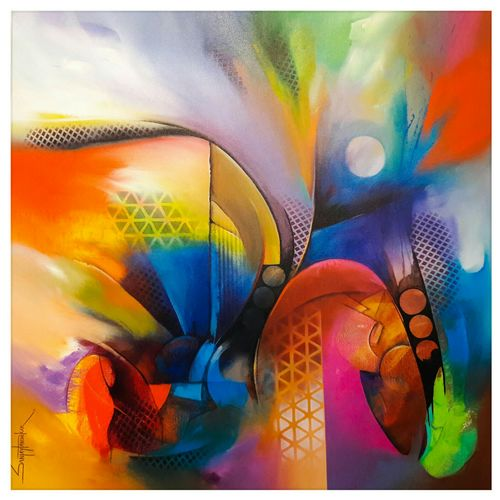 gossip abstract, 36 x 36 inch, sanjay  tandekar ,abstract paintings,paintings for bedroom,square,canvas,acrylic color,36x36inch,GAL028107138