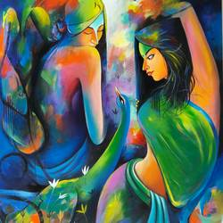 gossip g1, 36 x 48 inch, sanjay  tandekar ,paintings for office,figurative paintings,canvas,acrylic color,36x48inch,GAL028107139