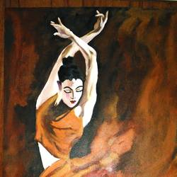 dancer, 15 x 29 inch, mahesh bommanalli,figurative paintings,paintings for office,canvas,acrylic color,15x29inch,GAL0364715