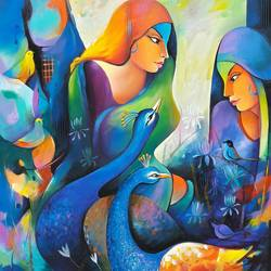 gossip 2, 36 x 48 inch, sanjay  tandekar ,figurative paintings,paintings for living room,canvas,acrylic color,36x48inch,GAL028107150