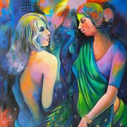 gossip 3, 36 x 48 inch, sanjay  tandekar ,figurative paintings,canvas,acrylic color,36x48inch,GAL028107156