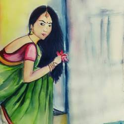 girl with lotus, 11 x 14 inch, anakha krishna,paintings for living room,figurative paintings,paper,watercolor,11x14inch,GAL028497157
