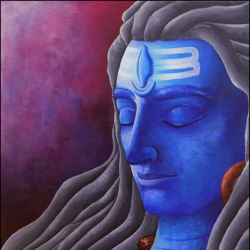 || lord shiva ||, 18 x 20 inch, debaditya sarkar,abstract paintings,paintings for living room,religious paintings,lord shiva paintings,canvas,acrylic color,18x20inch,GAL03967158