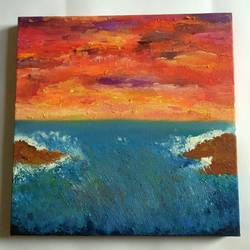 mesmerizing sky, 12 x 12 inch, preksha jain,paintings,abstract paintings,paintings for bedroom,canvas,oil,12x12inch,GAL021387159