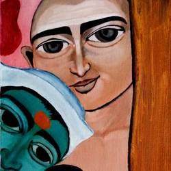 friends, 11 x 30 inch, mahesh bommanalli,paintings for living room,figurative paintings,modern art paintings,canvas,acrylic color,11x30inch,GAL0364716