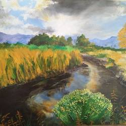 nature with sun shine , 30 x 23 inch, balaji  s n,nature paintings,paintings for living room,canvas board,acrylic color,30x23inch,GAL028517160Nature,environment,Beauty,scenery,greenery,river,grasses,trees,clouds