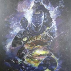 shiva thandav as univers, 25 x 35 inch, balaji  s n,realistic paintings,paintings for living room,lord shiva paintings,canvas,acrylic color,25x35inch,GAL028517161