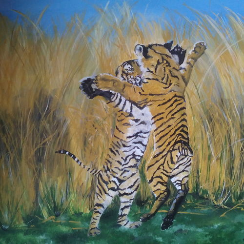 two tigers, 32 x 25 inch, balaji  s n,photorealism drawings,paintings for living room,canvas board,acrylic color,32x25inch,GAL028517162