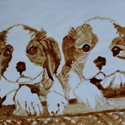 two puppies, 12 x 8 inch, manju thodukayil,animal paintings,paintings for living room,dog painting,thick paper,coffee,12x8inch,GAL028567166