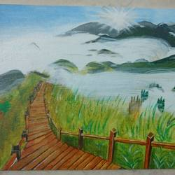 path to peace, 30 x 40 inch, pavithra murugesan,paintings,nature paintings,paintings for living room,canvas,acrylic color,30x40inch,GAL028577169Nature,environment,Beauty,scenery,greenery,peace,path,sun,grass