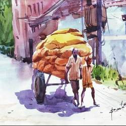 hand cart - a sign of hard work, 15 x 11 inch, rasheed p u,street art,paintings for office,figurative paintings,modern art paintings,drawing paper,watercolor,15x11inch,GAL027917170