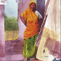 a lady, 11 x 15 inch, rasheed p u,figurative paintings,paintings for dining room,handmade paper,watercolor,11x15inch,GAL027917173