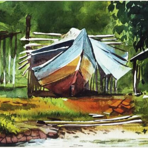 a boat, 11 x 15 inch, rasheed p u,realistic paintings,paintings for living room,handmade paper,watercolor,11x15inch,GAL027917174