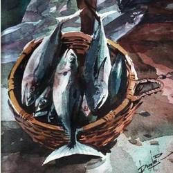 fish, 11 x 15 inch, rasheed p u,street art,paintings for dining room,animal paintings,handmade paper,watercolor,11x15inch,GAL027917176