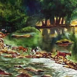 scenery, 15 x 22 inch, rasheed p u,landscape paintings,paintings for living room,handmade paper,watercolor,15x22inch,GAL027917177