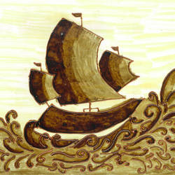sailing ship, 12 x 8 inch, manju thodukayil,illustration paintings,paintings for office,thick paper,coffee,12x8inch,GAL028567178