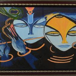 abstract, 21 x 17 inch, noor khan,paintings for living room,radha krishna paintings,canvas,oil,21x17inch,GAL027807179,lord,radha,krishna,radhakrishna,love,flute,lordkrishna