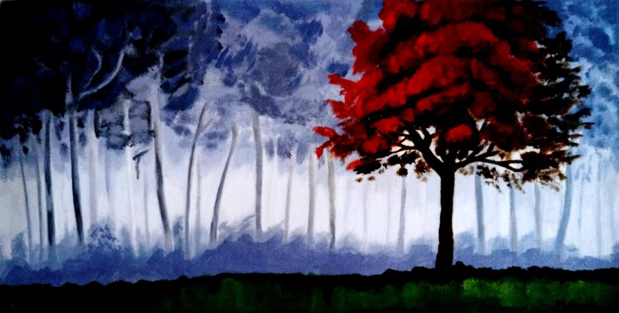 the tree, 30 x 12 inch, mahesh bommanalli,landscape paintings,paintings for bedroom,canvas,acrylic color,30x12inch,GAL0364718