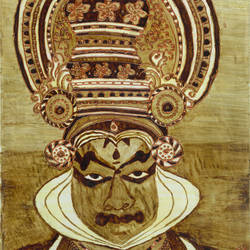 kathakali mask, 9 x 14 inch, manju thodukayil,folk art paintings,paintings for dining room,paintings,portraiture,paintings for living room,paintings for office,paintings for hotel,thick paper,coffee,mixed media,9x14inch,GAL028567181