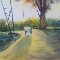 friends, 15 x 22 inch, rasheed p u,impressionist paintings,paintings for living room,handmade paper,watercolor,15x22inch,GAL027917192