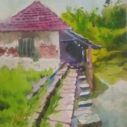a house, 11 x 15 inch, rasheed p u,realistic paintings,paintings for living room,handmade paper,watercolor,11x15inch,GAL027917193