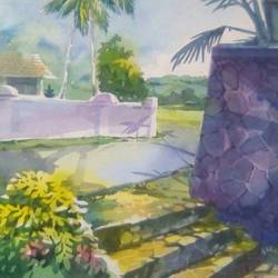 steps moving up, 14 x 22 inch, rasheed p u,impressionist paintings,paintings for living room,drawing paper,watercolor,14x22inch,GAL027917196