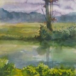 nature, 14 x 22 inch, rasheed p u,nature paintings,paintings for dining room,drawing paper,watercolor,14x22inch,GAL027917197Nature,environment,Beauty,scenery,greenery