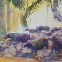 untitled, 14 x 22 inch, rasheed p u,landscape paintings,paintings for office,drawing paper,watercolor,14x22inch,GAL027917198