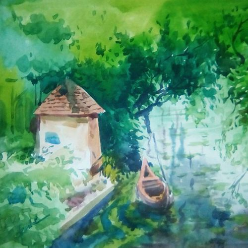 scenery, 10 x 12 inch, rasheed p u,landscape paintings,paintings for living room,drawing paper,watercolor,10x12inch,GAL027917199