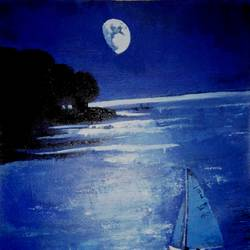 the moon night, 24 x 32 inch, mahesh bommanalli,landscape paintings,paintings for bedroom,canvas,acrylic color,24x32inch,GAL0364720