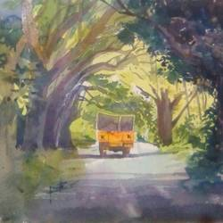 vehicle, 11 x 15 inch, rasheed p u,realism paintings,paintings for living room,handmade paper,watercolor,11x15inch,GAL027917202