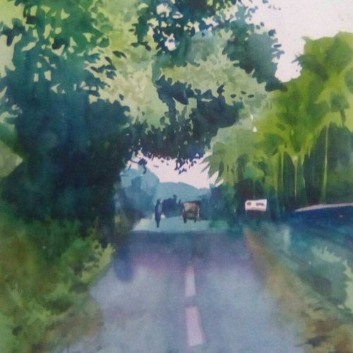 a path, 14 x 22 inch, rasheed p u,landscape paintings,paintings for living room,drawing paper,watercolor,14x22inch,GAL027917203