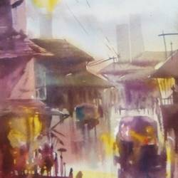 a street, 11 x 15 inch, rasheed p u,realism paintings,paintings for office,handmade paper,watercolor,11x15inch,GAL027917204