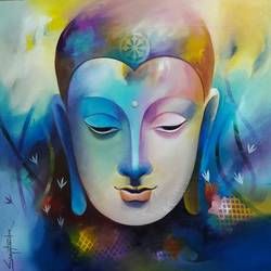 lord buddha 2, 24 x 24 inch, sanjay  tandekar ,buddha paintings,paintings for living room,canvas,acrylic color,24x24inch,religious,peace,meditation,meditating,gautam,goutam,buddha,colorful,design,GAL028107210