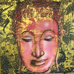 pink and gold buddha , 24 x 36 inch, anirudh bhagtani,buddha paintings,paintings for living room,cloth,fabric,24x36inch,religious,peace,meditation,meditating,gautam,goutam,buddha,lord,face,pink,modern art,GAL024677214