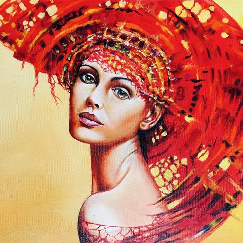 red crown, 18 x 12 inch, danny soni,figurative paintings,paintings for living room,canvas,oil,18x12inch,GAL017057216