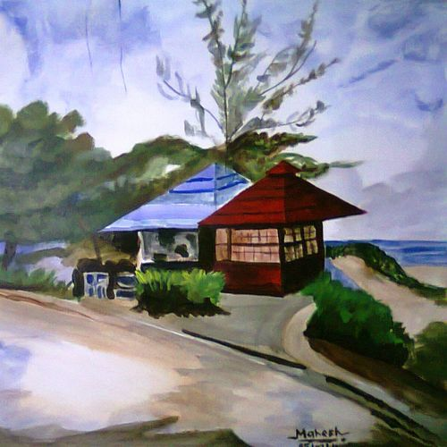hill station , 25 x 19 inch, mahesh bommanalli,landscape paintings,paintings for office,thick paper,watercolor,25x19inch,GAL0364722