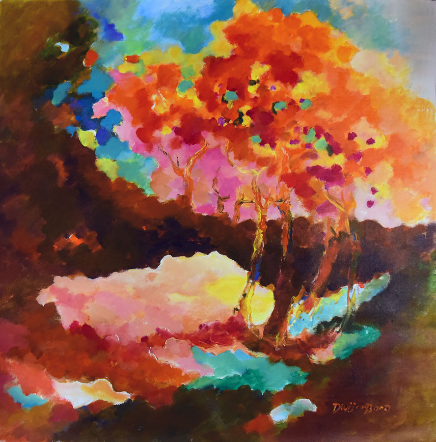 reddish spring , 37 x 37 inch, dwijen bora,abstract paintings,paintings for living room,canvas,acrylic color,37x37inch,GAL028797221
