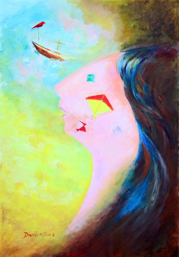 dream , 26 x 37 inch, dwijen bora,abstract paintings,paintings for bedroom,canvas,acrylic color,26x37inch,GAL028797224