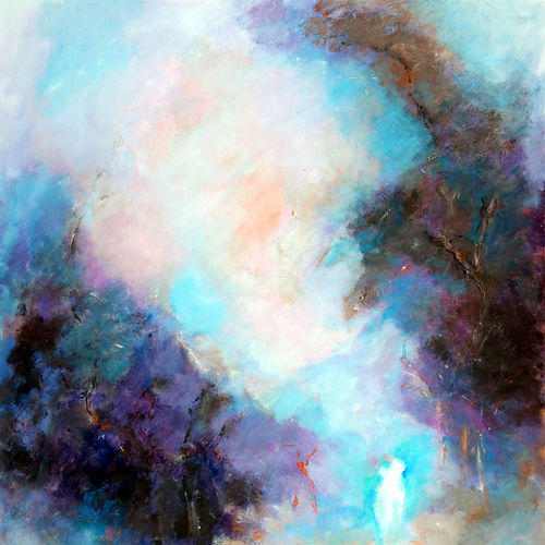 love in the mist, 38 x 44 inch, dwijen bora,abstract paintings,paintings for bedroom,canvas,acrylic color,38x44inch,GAL028797225