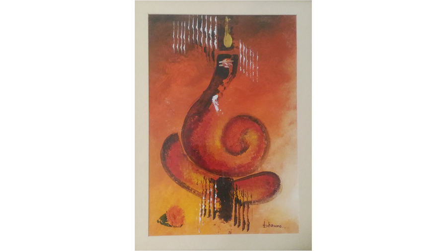 ganesha in red 001, 8 x 11 inch, bhawna dhigra,religious paintings,paintings for living room,handmade paper,acrylic color,8x11inch,GAL028897227